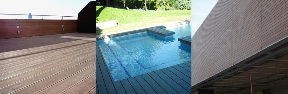 Aplicación de madera sintética en suelos y revestimientos para exterior