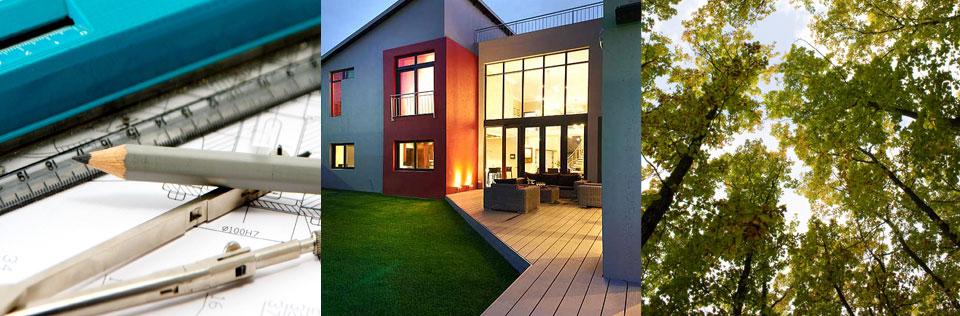 Tarima sintética exterior en terraza estilo moderno
